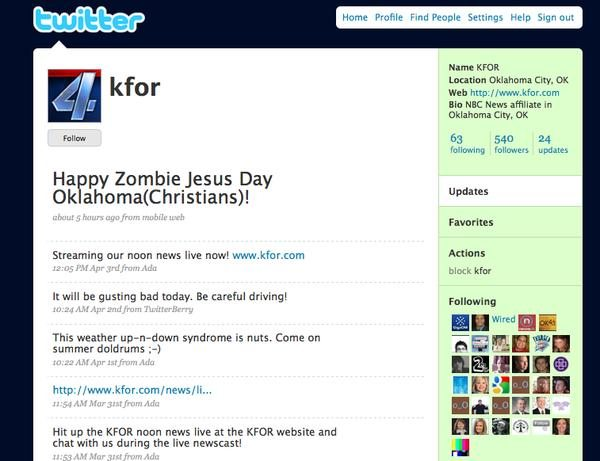 Do they dye Zombie Jesus Day eggs at KFOR Channel 4?   The