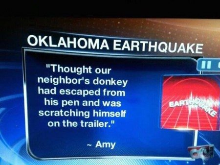 oklahoma earthquak donkey