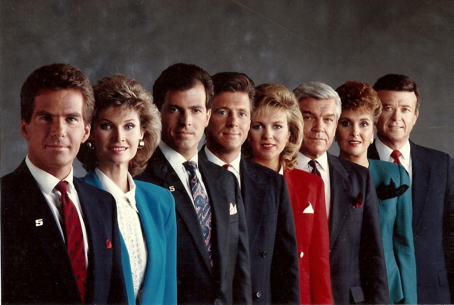 This late 1980s photo of the Channel 5 news team is pretty