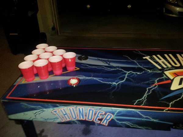 Some dude created an OKC Thunder beer pong table with an automatic