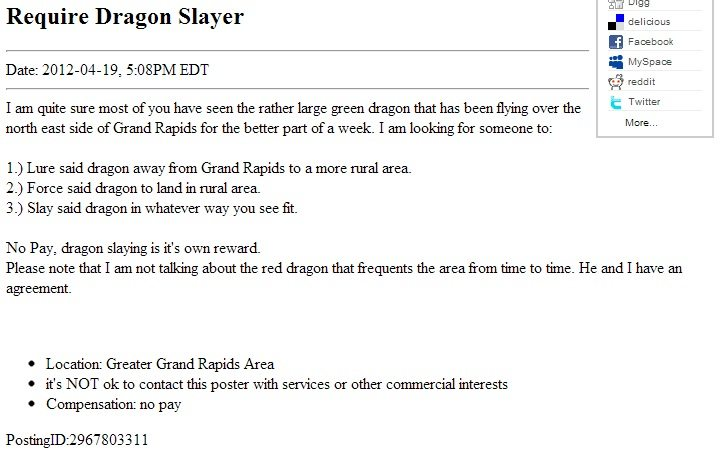 the Green Dragon classified ad that   s gone viral in Oklahoma City IO6SgNTa