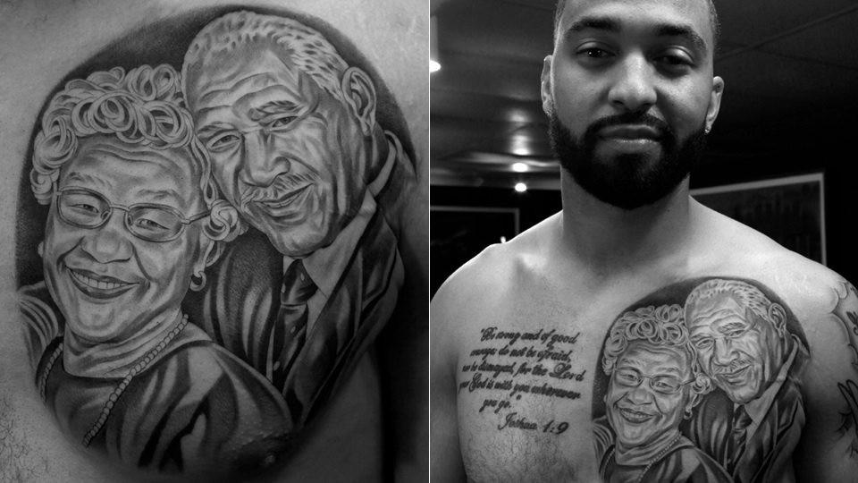 Matt kemp has a tattoo of his grandparents on his chest for Manti te o tattoo