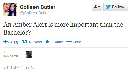 Twitter   CollleenButler  An Amber Alert is more important ...