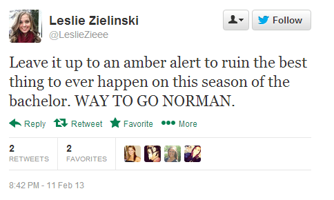 Twitter   LeslieZieee  Leave it up to an amber alert ...