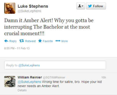 Twitter   SukeLephens  Damn it Amber Alert  Why you ...