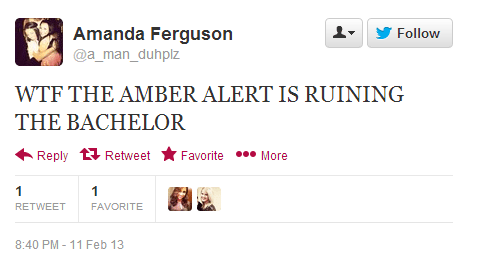 Twitter   a_man_duhplz  WTF THE AMBER ALERT IS RUINING ...