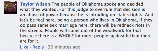 Taylor Wilson Oklahoma Facebook marriage equality