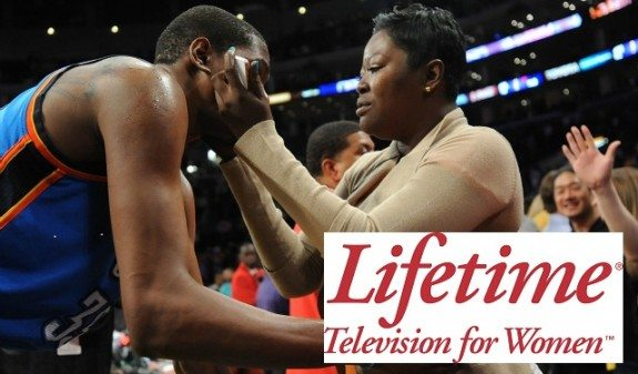 May 19, 2012; Los Angeles, CA, USA; Oklahoma City Thunder small forward Kevin Durant (35) gets a hug from his mom Wanda Pratt after game four of the Western Conference semi finals of the 2012 NBA Playoffs against the Los Angeles Lakers at the Staples Center. Thunder won 103-100. Mandatory Credit: Jayne Kamin-Oncea-US PRESSWIRE