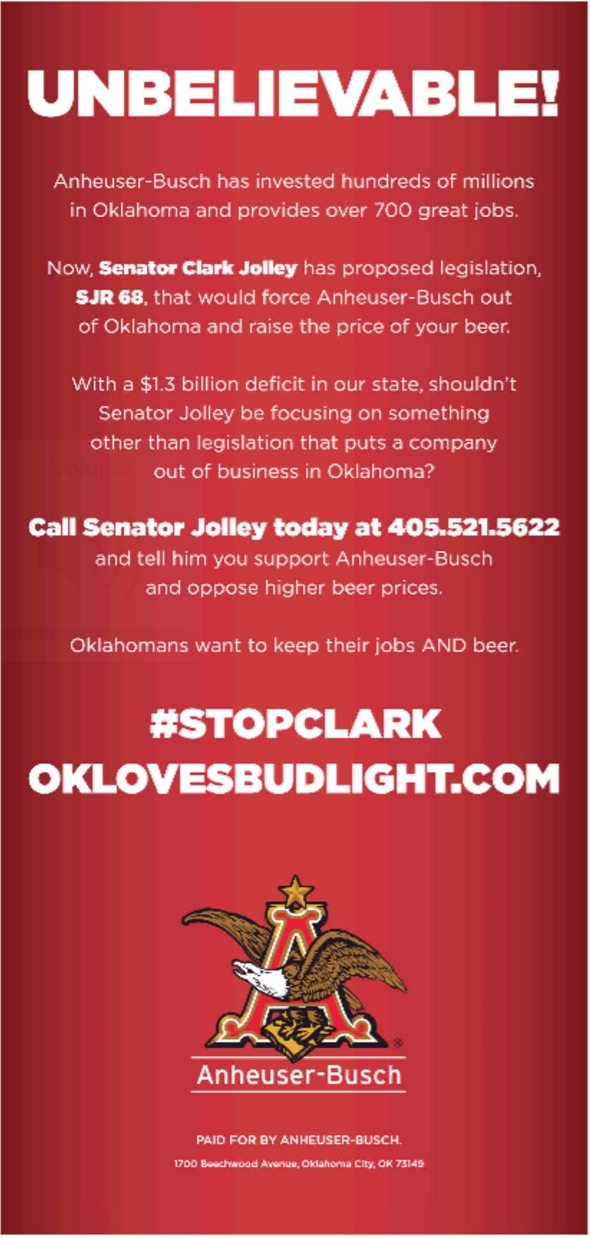 Senate Joint Resolution 68 Will Kick Budweiser Of Out Oklahoma Can We Vote Yes Now Thats Awesome