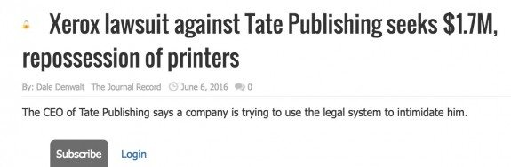 Xerox Is Suing Tate Publishing For 1 7 Million The
