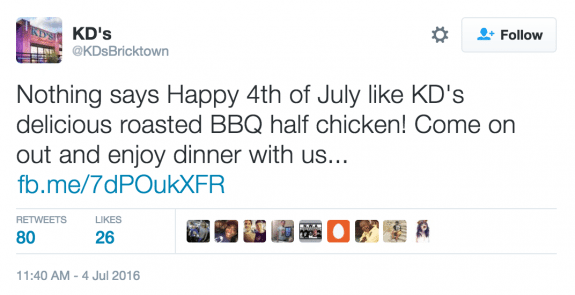 KDs restaurant 4th of july